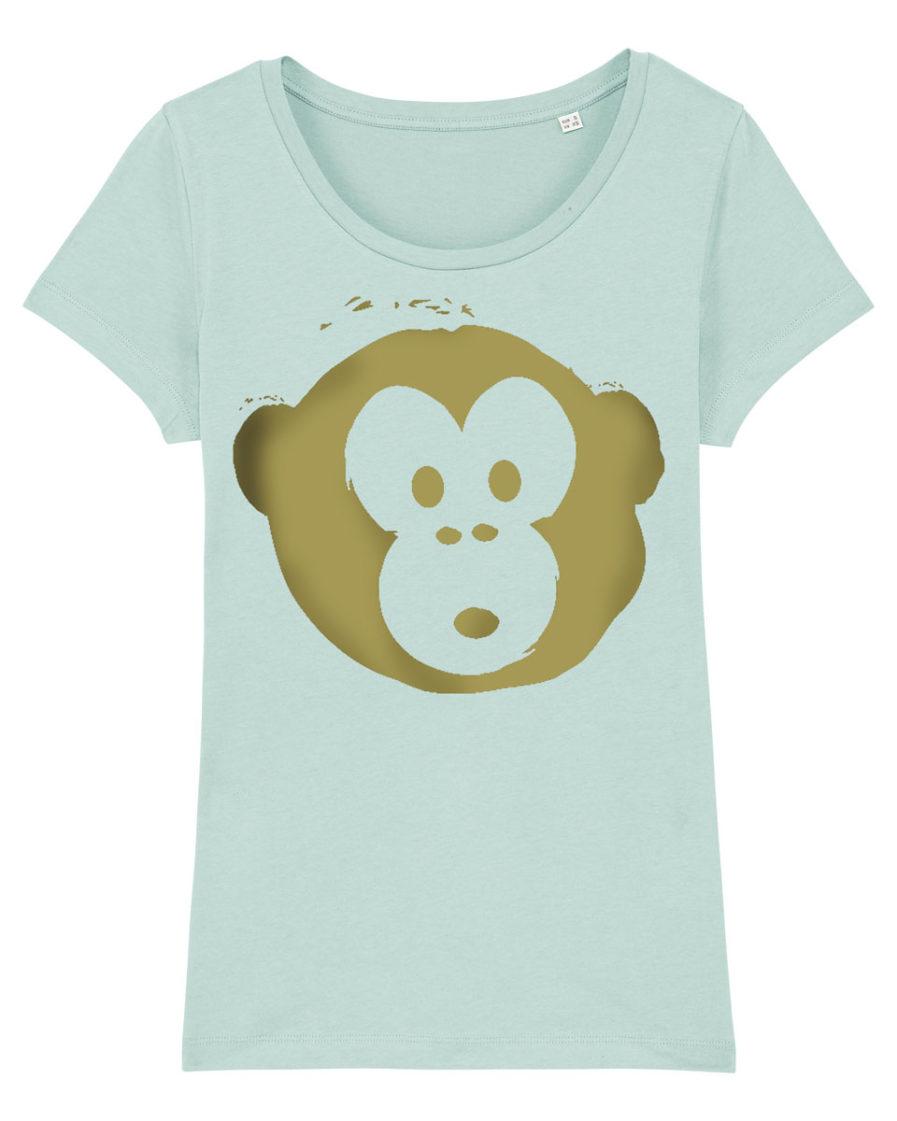 T-shirt Monkey Loves Lightblue-Gold