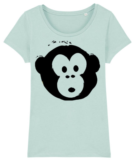 T-shirt Monkey Loves Lightblue-Schwarz