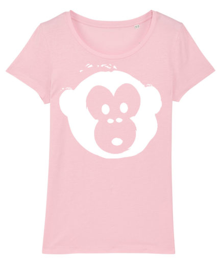 T-shirt Monkey Loves Pink-White