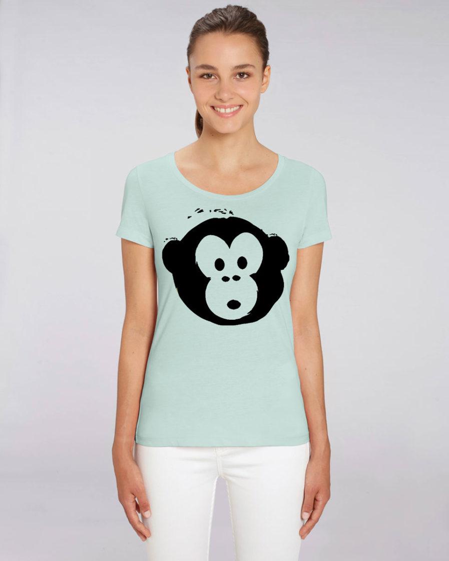 T-shirt Monkey Loves Lightblue-Schwarz