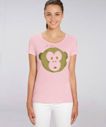 T-shirt Monkey Loves Pink-Gold