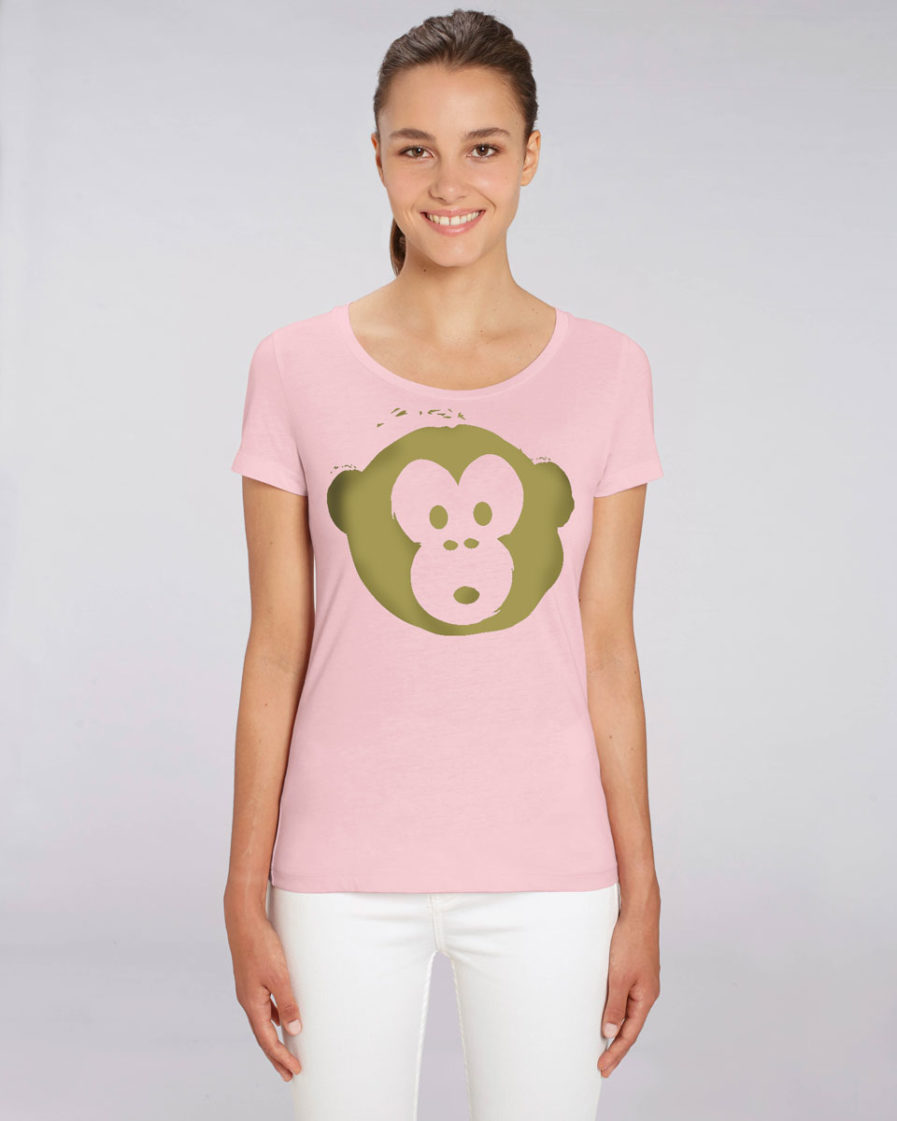 T-shirt Monkey Loves Pink-Gold