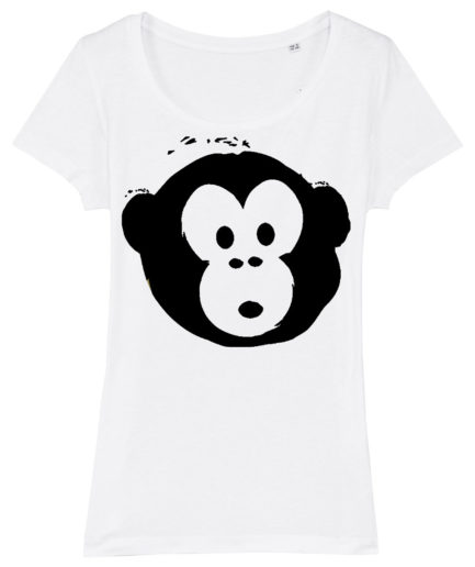 T-shirt Monkey Glows White-Black