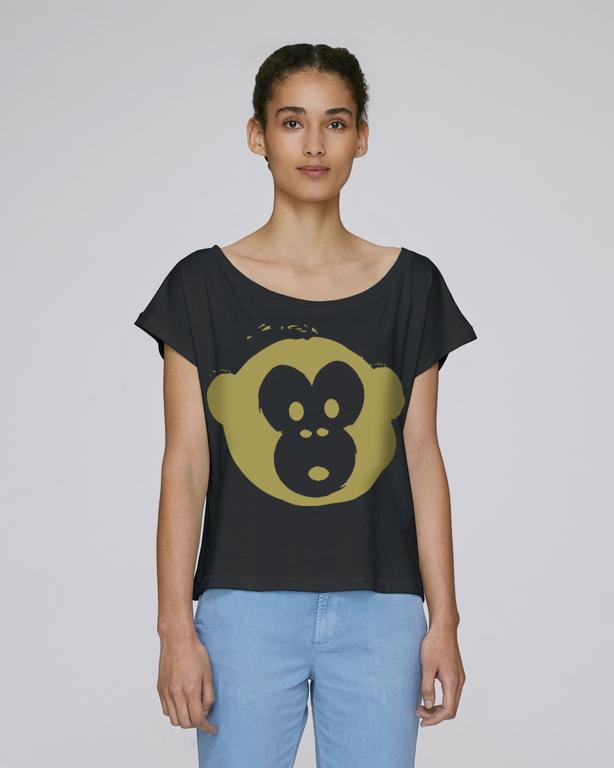 T-shirt Monkey Flies Black-Gold