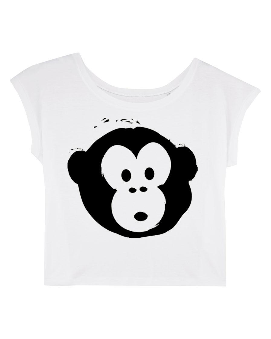 T-shirt Monkey Flies White-Black