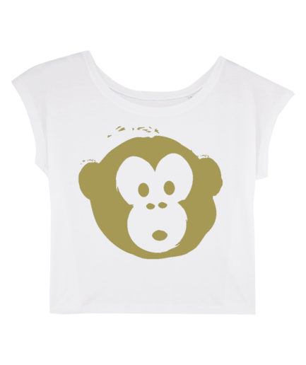 T-shirt Monkey Flies White-Gold