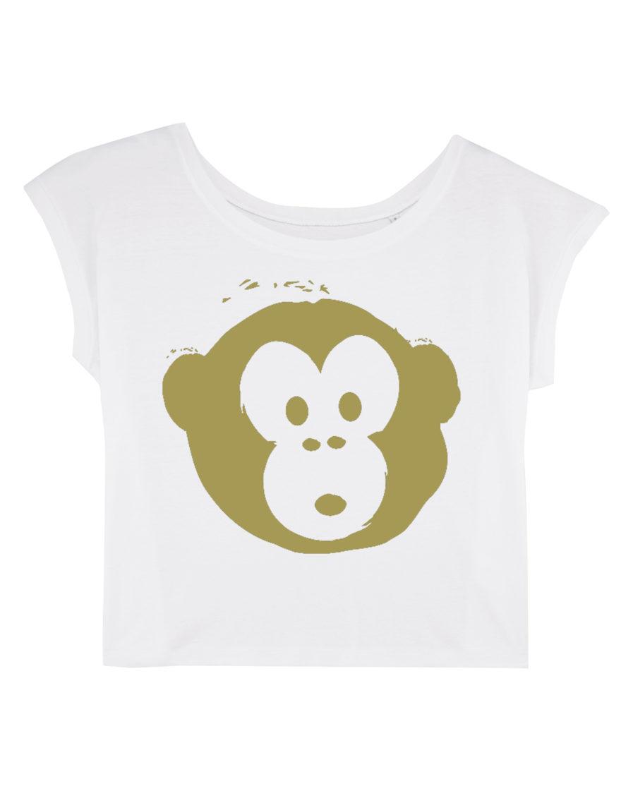 T-shirt Monkey Flies White-Gold