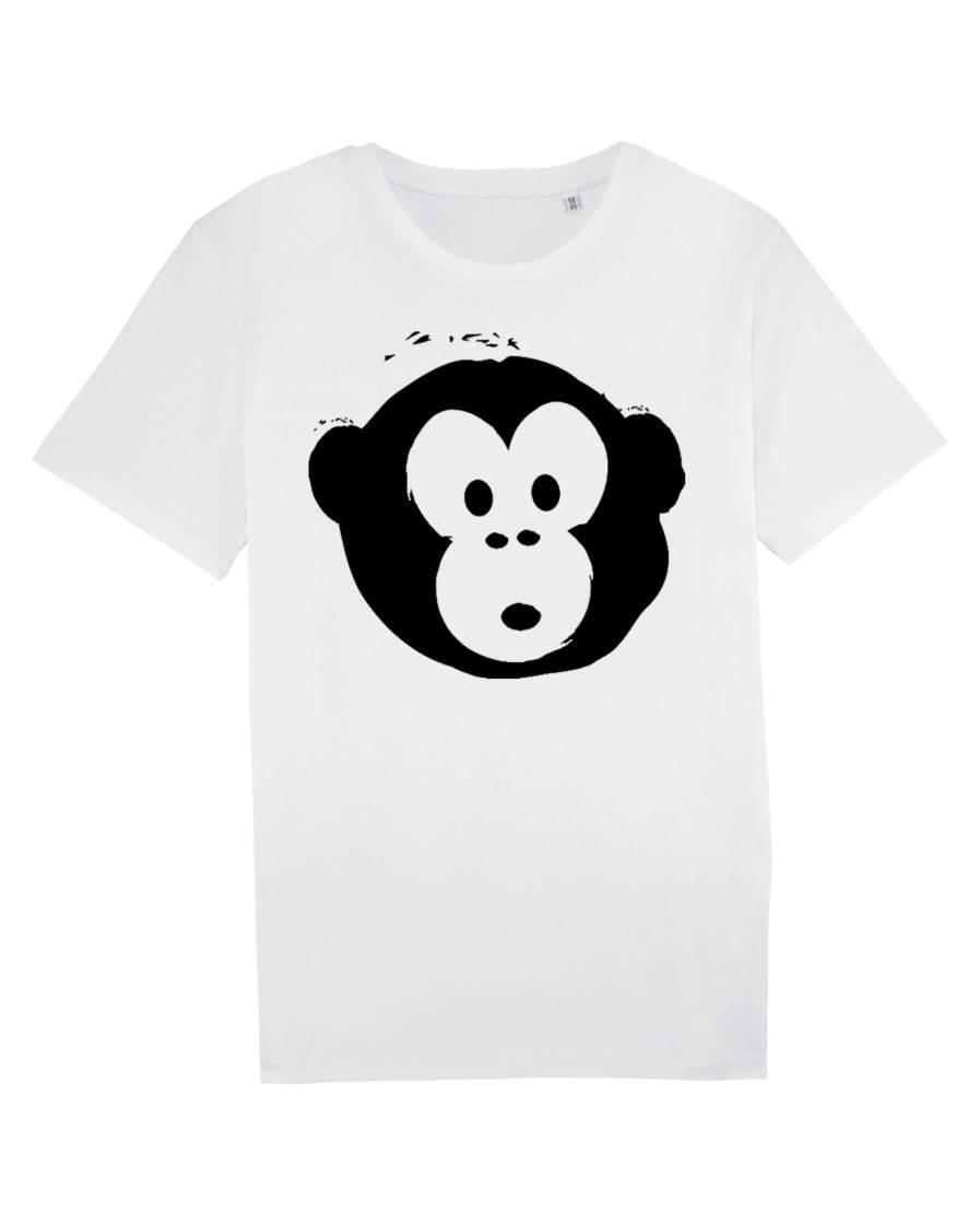 T-shirt Monkey Men White-Black