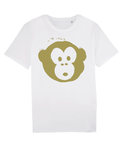 T-shirt Monkey Men White-Gold