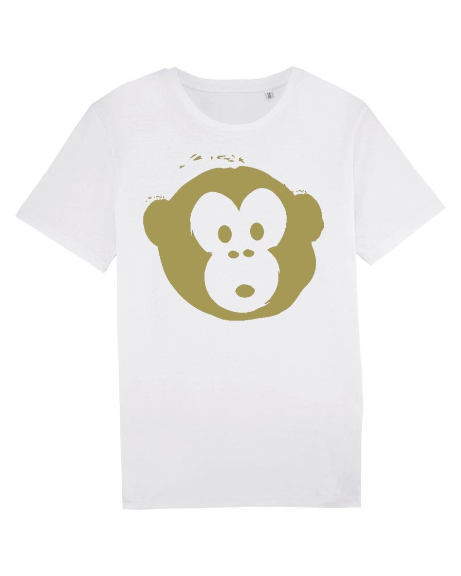 T-shirt Monkey Men White-Gold