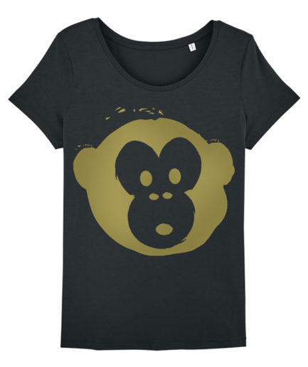 T-shirt Monkey Loves Black-Gold