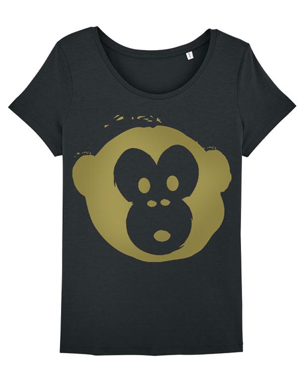T-shirt Monkey Loves Black-Gold