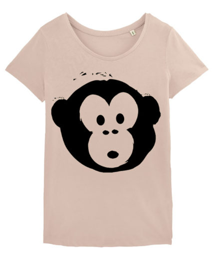 T-shirt Monkey Loves Nude-Black
