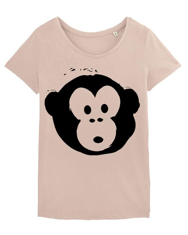 T-shirt Monkey Loves Nude-Black