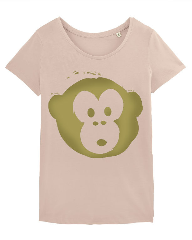 T-shirt Monkey Loves Nude-Gold