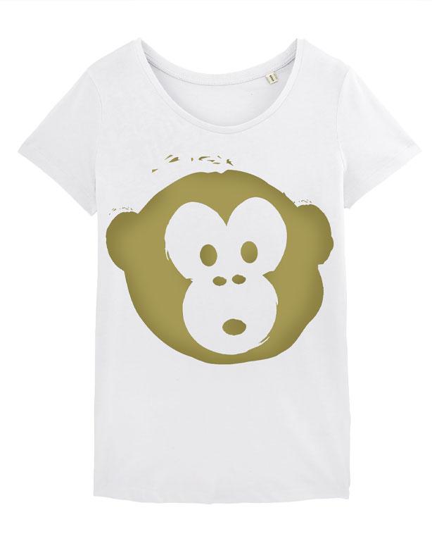 T-shirt Monkey Loves White-Gold
