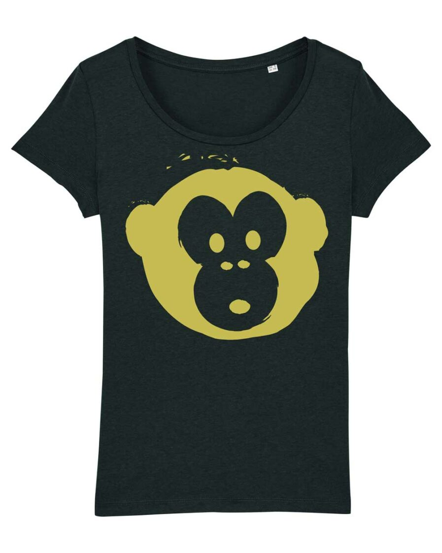 T-shirt Monkey Glows Black