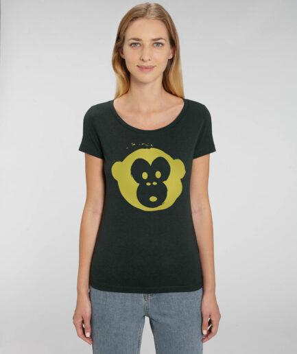 T-shirt Monkey Glows Black