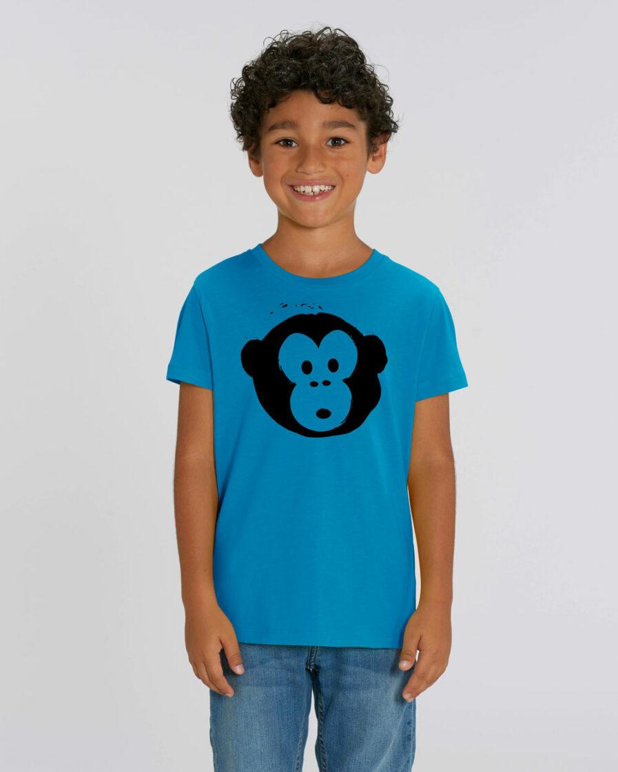 T-shirt Monkey Kids Azur